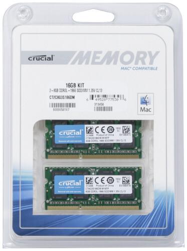 Crucial 16GB DDR3L 1866 MT/s Kit 8GBx2 SODIMM 204pin for Mac DTR199145