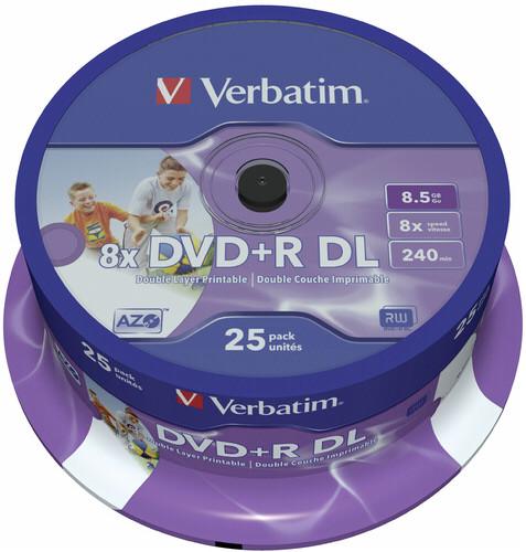 1x25 Verbatim DVD+R Double Layer 8x Speed printable 8,5GB DTR255878