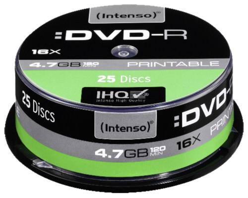 1x25 Intenso DVD-R 4,7GB 16x Speed Cakebox printable DTR431186