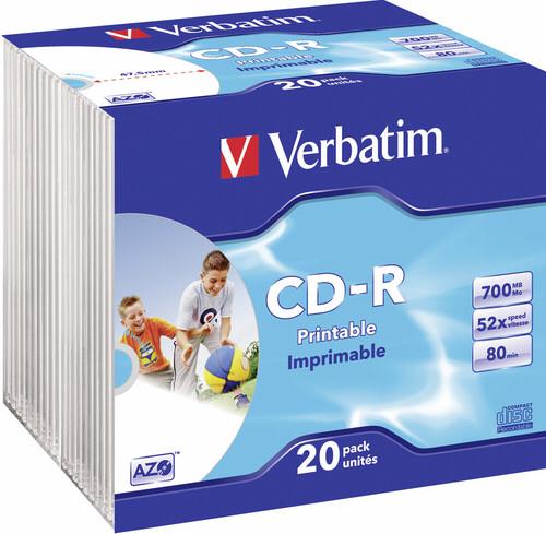 1x20 Verbatim CD-R 80 Slim Case 52x Speed photo printable DTR625532
