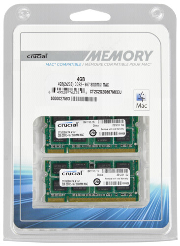 Crucial 4GB 2x2GB DDR2 667MHz PC2-5300 SODIMM 200pin for Mac DTR630196