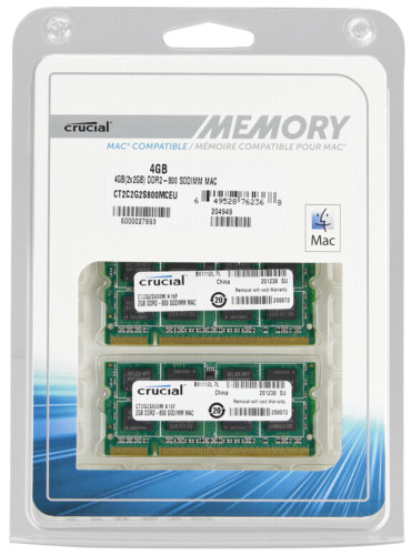 Crucial 4GB 2x2GB DDR2 800MHz PC2-6400 SODIMM 200pin for Mac DTR630203