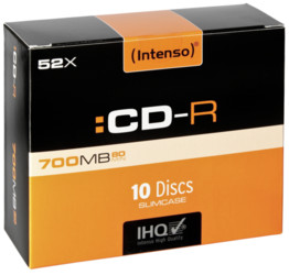 Intenso  1x10 Intenso CDR 80 700MB 52x Speed Slimcase