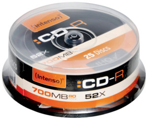 Intenso  1x25 Intenso CDR 80 700MB 52x Speed Cakebox Spindel