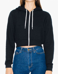 American Apparel  American Apparel Womens Flex Fleece Cropped Zip Hooded Sweatshirt