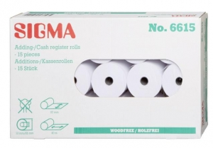Sigma  Adding-Cash Register Rolle 57X65 12mm 40m Sigma (15 Packungen)
