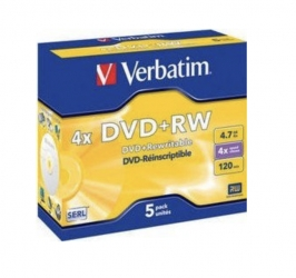 Verbatim  DVD+RW 4,7GB 4X Speed 5STK JC Verp. (1 Packung)