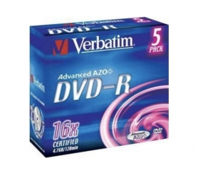 Verbatim  DVD-R AZO 4.7GB 16X Speed 5STK JC Verp.(1 Packung)