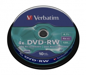 Verbatim  DVD-RW 4,7GB 4X Speed 10STK SP Verp. (1 Packung)