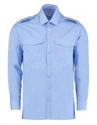 Kustom Kit Mens Pilot Shirt Long Sleeve Light Blue 3XL